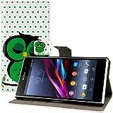 kwmobile Hülle für Sony Xperia Z1 - Wallet Case Handy Schutzhülle Kunstleder - Handycover Klapphülle mit Kartenfach und Ständer Eule Schlaf Design Grün Schwarz Weiß