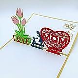 La Vita Viva Grußkarte I love Mom 3-D Pop-Up Glückwunschkarte Ich Liebe meine Mama für Muttertag Geburtstag Besuche Überraschung