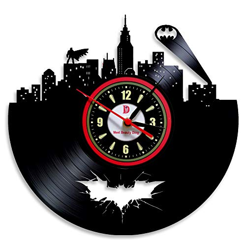 Meet Beauty Ding Hot Vinyl Evolution Batman Arkham City Logo Wanduhr Dekorieren Sie Ihr Zuhause mit Modernen, großen Superhelden, Kunstgeschenk für Freunde, Männer und Jungen (Die Evolution Von Batman)