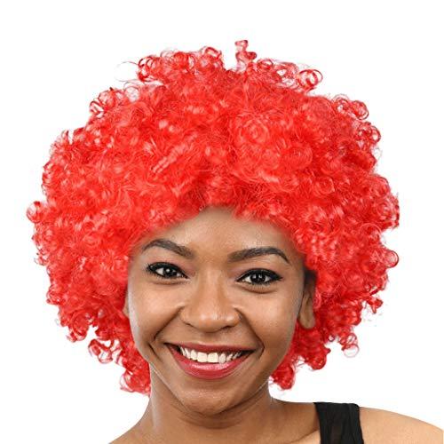 HLIYY-Perruques De Cheveux Afro-Mascarade De Fans De Football Afro-Clown Cheveux Courts Cheveux bouclés Tête Explosive,Plusieurs Couleurs