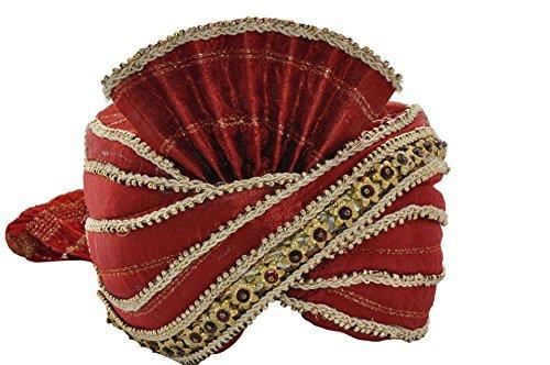 faschingskostueme bollywood Egypt Bazar Indischer Maharaja-Turban- Paghdi Herren Fasching Bollywood Fasching Kopfbedeckung, Farbe: weinrot