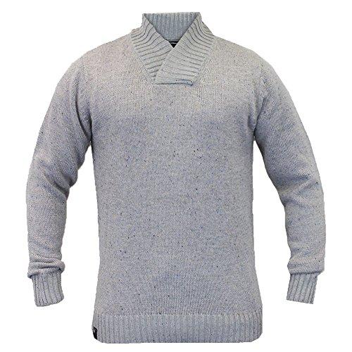 Dissident - Hommes - Pull tricot col châle hiver Gris Moyen - 1A2807