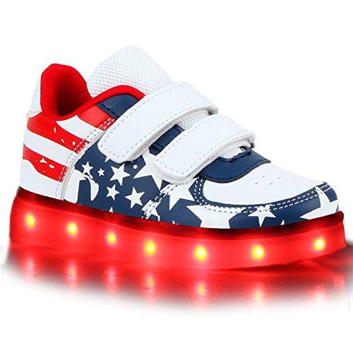 Sofort lieferbar aus DE - Leuchtende und Blinkende Damen Herren Kinder Mädchen Jungen Sneakers High und Low Led Light Farbwechsel Schuhe LED Licht Weiss Blau Rot Klett USA