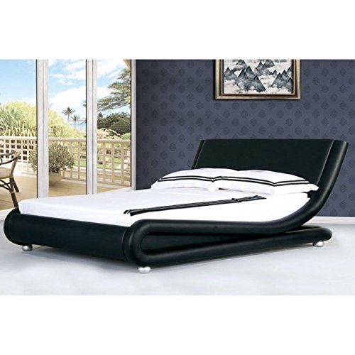 Italienisches Designer-Bett, modern, erhältlich in 2Größen und 3Farben, schwarz, Kingsize (1,5 m) -