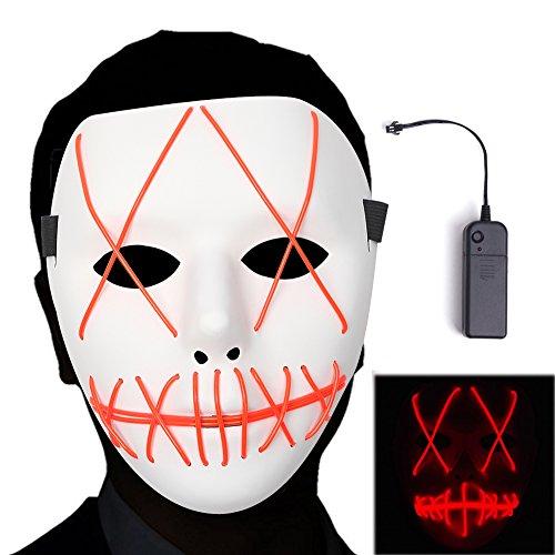 The Purge Maske Halloween Maske Clown Maske mit EL Wire Light 4 Modi Veränderbar Strapazierfähiges ABS Material für Halloween Karneval Maskenball Unfug (Gruselig Besten Die Nicht Halloween-filme)
