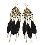 Hosaire 1 Paar Damen Ohrringe Vintage Lange Quaste Feder Anhänger Ohrringen Frauen Schmuck Zubehör Ohrhänger
