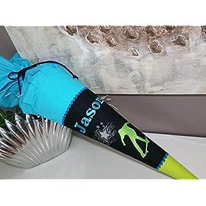 #13 Skater schwarz-türkis-grün Stoff + Papprohling + als Kissen verwendbar