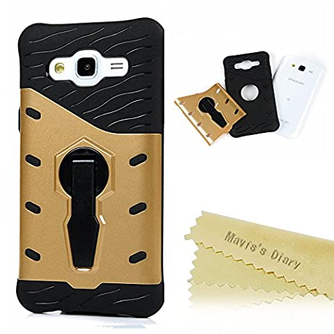 Mavis's Diary Samsung Galaxy J5 Case (2015 Model) - [Armor Design] 360 Degree Rotating Kickstand Ring Holder Shockproof Drop Protection TPU Inner Bumper + Hard PC Back Shell Protective Cover for Samsung Galaxy J5 (Not for 2016 Version) - Gold