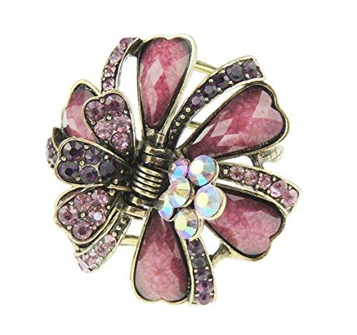 Haarspange für Damen, bronze- und goldfarben, aus Metall mit Kristallen, klein, 5 cm, Krallenspange, mit Rosen und Blättern