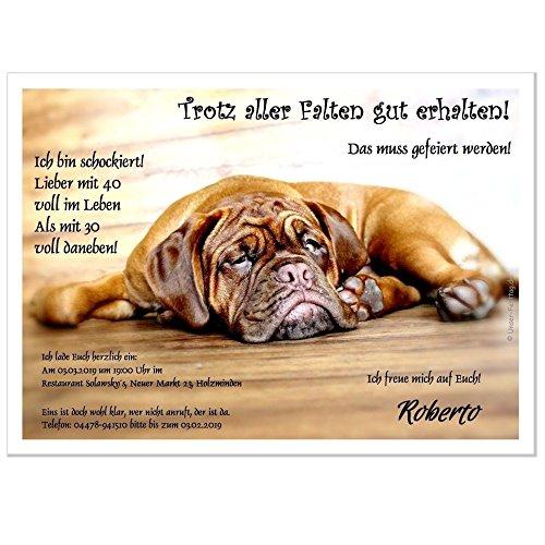 Einladungskarte zur Geburtstagsfeier Fete Party Geburtstag Motiv Hund, 30 Karten A5 oder B6 -