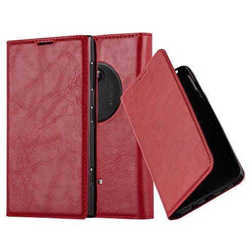 Cadorabo Custodia Libro per Nokia Lumia 1020 in Rosso Mela – con Vani di Carte, Funzione Stand e Chiusura Magnetica – Portafoglio Cover Case Wallet Book Etui Protezione