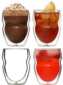 Ozeri - Set di 4 bicchieri da caffè termoresistenti in vetro con doppio fondo da 250 ml