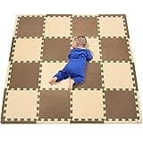 qqpp Tappeto Bambini Puzzle con Certificato CE in Morbido Gomma Eva   Tappeti da Gioco per Bambina   Tatami. 16 Pezzi (30*30*1cm), 16 Accessori Straight Edge, Marrone & Beige. QQC-FJb16S16