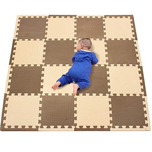 qqpp Puzzles de Suelo,Alfombra Puzzle de 16 Piezas | Marrón Beige (30*30*1CM) | Alfombrilla de Juego Infantil | Gomaespuma EVA | Lavable | Colores Resistentes Rompecabezas |