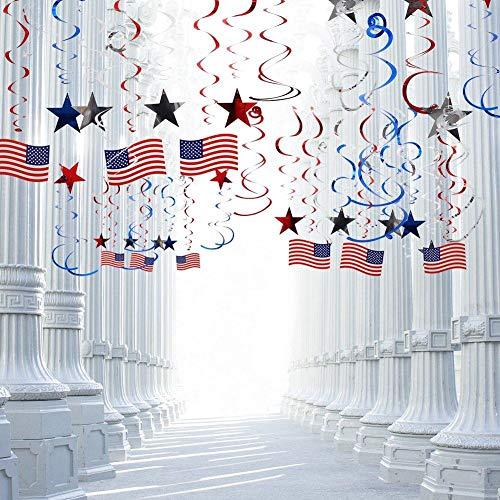 ion Hanging Swirls (30 PCS), patriotische Luftschlangen mit amerikanischer Flagge, Folien-Ausläufer, Star Swirl hängende Dekorationen, Partyzubehör der amerikanischen Flagge ()