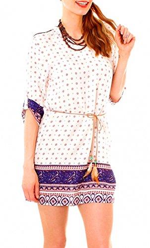 Easy Young Fashion Damen Boho Minikleid Halbarm gemustert Modell 11