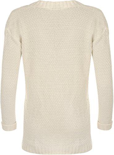 WearAll - Cardigan irlandais à manches longues avec les boutons - Cardigans - Femmes - Taille 36 à 42 Crème