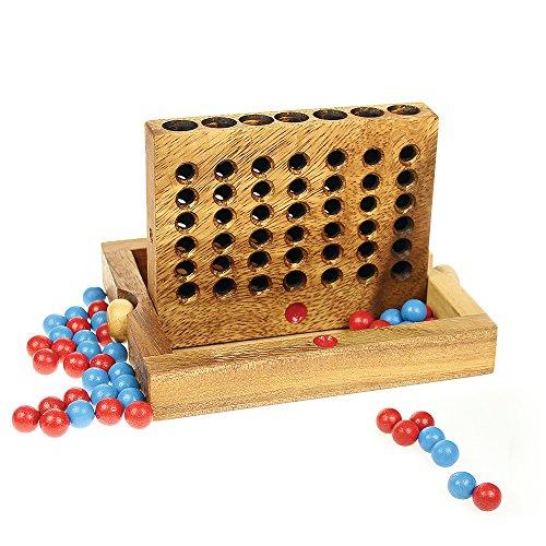 Personalisierte Vier (Vier in einer Reihe - Brettspiel aus Holz – Personalisiert mit Namen - Knobelspiel - Reisespiel - Geschicklichkeitsspiel – Kinderspiel für unterwegs)