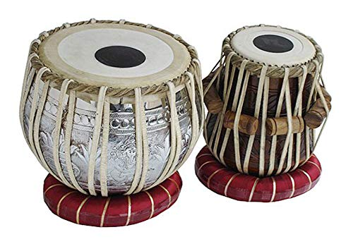 Makan Concert Ganesha Chrome Plated Copper Bayan Tabla Drum Set Percussion Musical Instrument with Carry Bag & Cushion