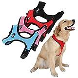 Hundegeschirr für Hunde | mit Klickverschluss, Soft Air Mesh Weste, Einstellbare, Komfortable | in zwei verschiedenen Größen (L und XL) und drei verschiedenen Farben (Rot, Blau und Schwarz) | Geschirr Hund, Brustgeschirr, Softgeschirr, Dog Harness, Leine & Halsband