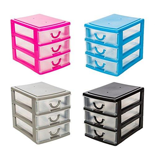 4er Set Schubladenbox Aufbewahrungsboxen in 4 tollen Farben Ideal für Büro, Küche & Werkstatt