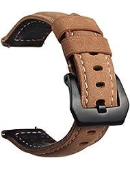 Gear S3 Frontier / Classic Watch Armband ,V-MORO Echtes Leder Ersatzband für Samsung Gear S3 Classic Watch (P-Leder braun bk)