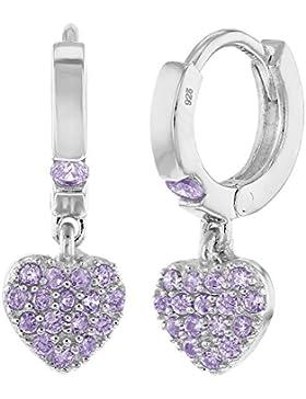 In Season Jewelry Mädchen Kinder - Reifen Ohrringe Kleine Herzfrom Baumeln 925 Sterling Silber Lila CZ Zirkonia