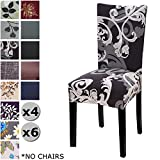 YISUN Modern Stretch Dining Chair Covers Removable Washable Spandex Slipcovers for High Chairs 4/6 PCs Chair Protective Covers (Black + Flower Parttern, 4 PCS)