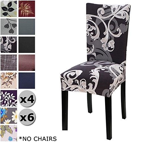 Yisun coprisedie con schienale, moderno coprisedia elastico per coprisedie sala da pranzo rivestimento sfoderabile, fodere sedie con schienale copertura protettiva per sedie (nero/fiore, 6 pezzi)