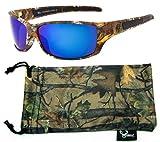 Hornz Brown camuflaje del bosque polarizados gafas de sol de marco y de los hombres libres del deporte a juego completa bolsa de microfibra – Marco de Marrón Camo - Lente Azul