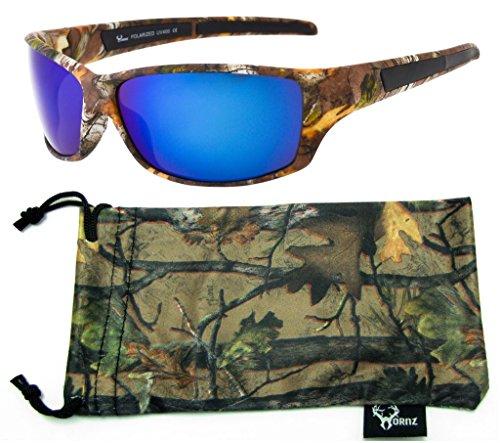 Hornz Forrest Braun Camouflage polarisierten Sonnenbrillen für Männer Voller Sport Rahmen & Freie Passende Beutel aus Mikrofaser - Braun Camo Rahmen -Blaue Linse