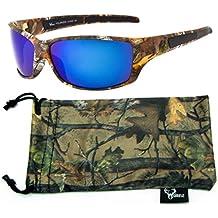 Hornz Brown Camuflaje del Bosque polarizados Gafas de Sol de Marco y de los Hombres Libres