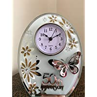 Hunky Dory Gifts 50th Wedding Anniversary Clock Butterfly Mirror Golden 50 Years Of Marriage Gift