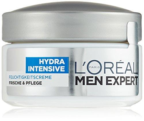 L'Oréal Men Hydra Intensive Feuchtigkeitscreme Gesicht – Feuchtigkeitspflege für Männer, für alle Hauttypen (24h Feuchtigkeit, klebt und fettet nicht) 1 x 50 ml