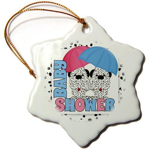 3dRose ORN 173022Bruder 1Twins Baby Dusche Dalmatiner in pink und blau Schneeflocke Ornament, Porzellan, 3Zoll (Twin Baby-dusche-dekorationen)