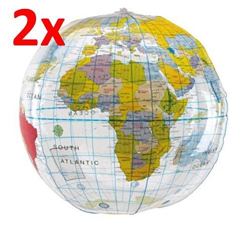 R507 2x Wasserball Strandball Weltkugel Design ca. 28 cm Wasserspielzeug Globus G1