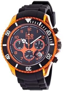 ICE-Watch - Montre Mixte - Quartz Analogique - Ice-Chrono Electrik - Black - Orange - Big Big - Cadran Noir - Bracelet Silicone Noir - CH.KOE.BB.S.12