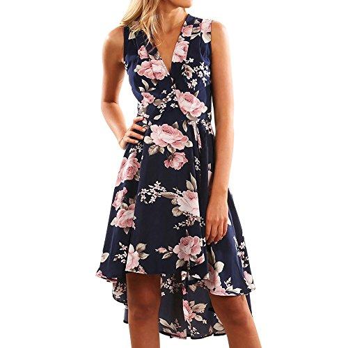 MOIKA Damen Kleid, New Sommer Frauen Floral Printed Sling Sleeveless Lace-up Split unregelmäßige Chiffon Langes Kleid Casual Täglich (XL, Y-Dunkelblau) -