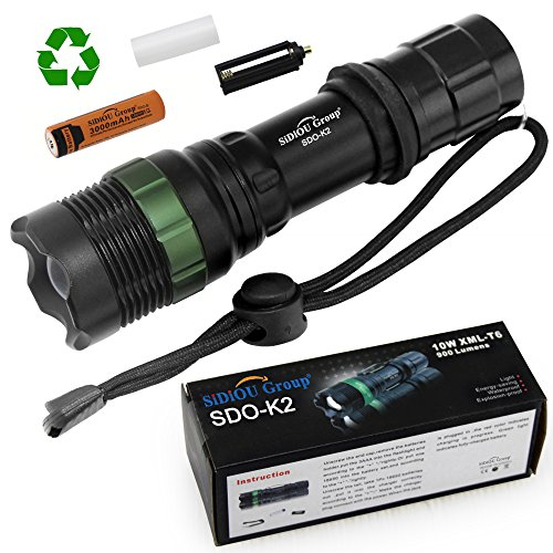 #Sidiou Group Super helle Cree T6 LED Taschenlampe 900 Lumen-7W Zoomable Fackel mit 1 x 3.7V 3000mAh 18650 Li-Ionen-Akku (Taschenlampe + Batterie)#