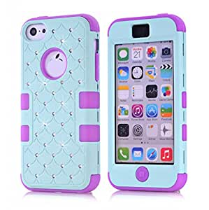 Phone case for iPhone 5C, Fashion Hybrid Gel Rhinestone Bling Armor Case Cover for iPhone 5C with Screen Protector and Stylus(Light Cyan&Purple)