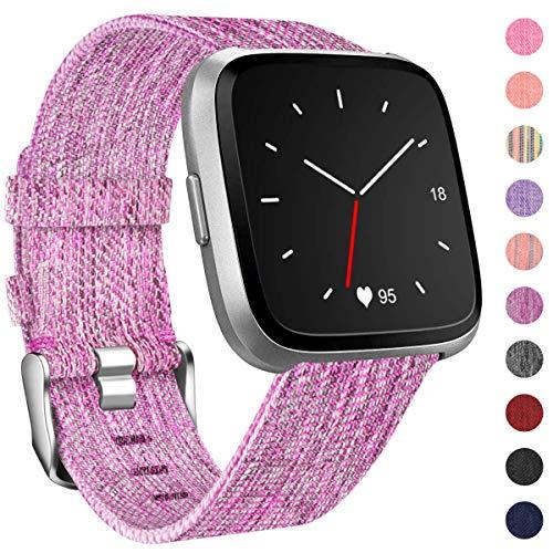 HUMENN Für Fitbit Versa Armband, Woven Ersetzerband Verstellbares Zubehör Uhrenarmband mit Edelstahlschnalle Für Fitbit Versa/Fitbit Versa Lite Klein Pflaume