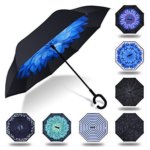 HISEASUN Parapluie Inversé Innovant Anti-UV Double Couche Coupe-Vent Mains Libres poignée en Forme C - Idéal pour Voyage et Voiture(Blue Daisy)