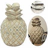 LS-LebenStil XL Deko Ananas Keramik 21cm Grau Weiß Skulptur Frucht Tisch-Deko