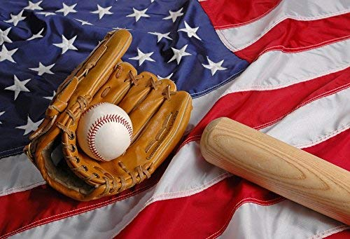 intergrund Baseball Mitt Baseballschläger Amerika Flagge Realismus 10x6.5ft Fotostudio Requisiten Baseball Hobby Sport Glamour Fotografie Hintergrund ()