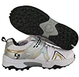 SG Men's Century 3.0 White Black and Gold PU Cricket Shoes (9)