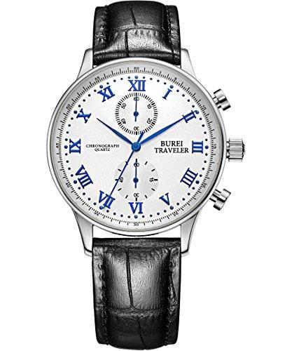 BUREI Klassisch Herren Chronographenuhr mit Römischen Ziffern, schwarzem Uhrenlederband und Blau Uhrenzeiger