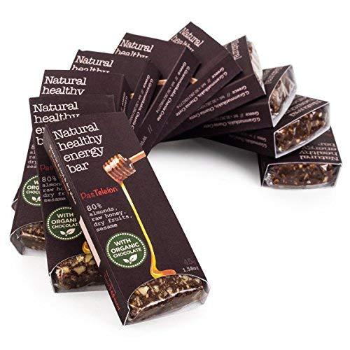 10 Natürliche Rohkost Mandel Schoko Riegel (10 * 45g) - Honig Datteln Rosinen Feigen Sesam - Powerbar - Energie Riegel - Glutenfrei - Ohne Zucker - Ohne Konservierungsstoffe - Bio Schokolade (Schoko-energie-riegel)