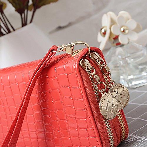Portafoglio ampio da donna in pelle morbida di lusso con grande capacità e 2 tasche con cerniera Anguria rossa