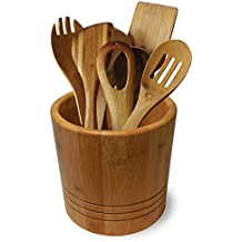 Large Bamboo Utensil Holder - Keep your kitchen essentials in one stylish convenient place (Bamboo)