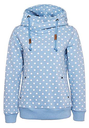 Fresh Made Damen Allover Print Hoodie mit verschiedenen Mustern   Bequemer Kapuzenpullover mit Aufdruck   Hochwertiger Sweat-Pulli in vielen Farben erhältlich light-blue XS